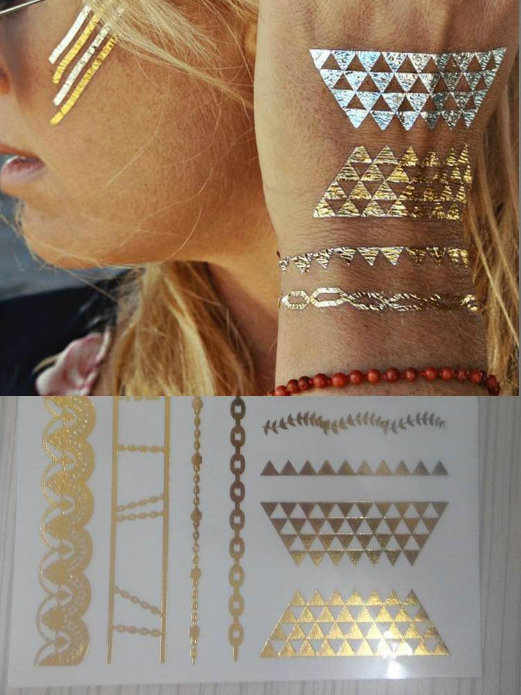 Temporary gold silver metallic flash foil tattoo sticker