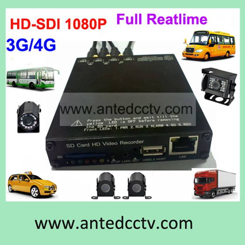 4 channel SD card mobile DVR with 3G GPS G-sensor