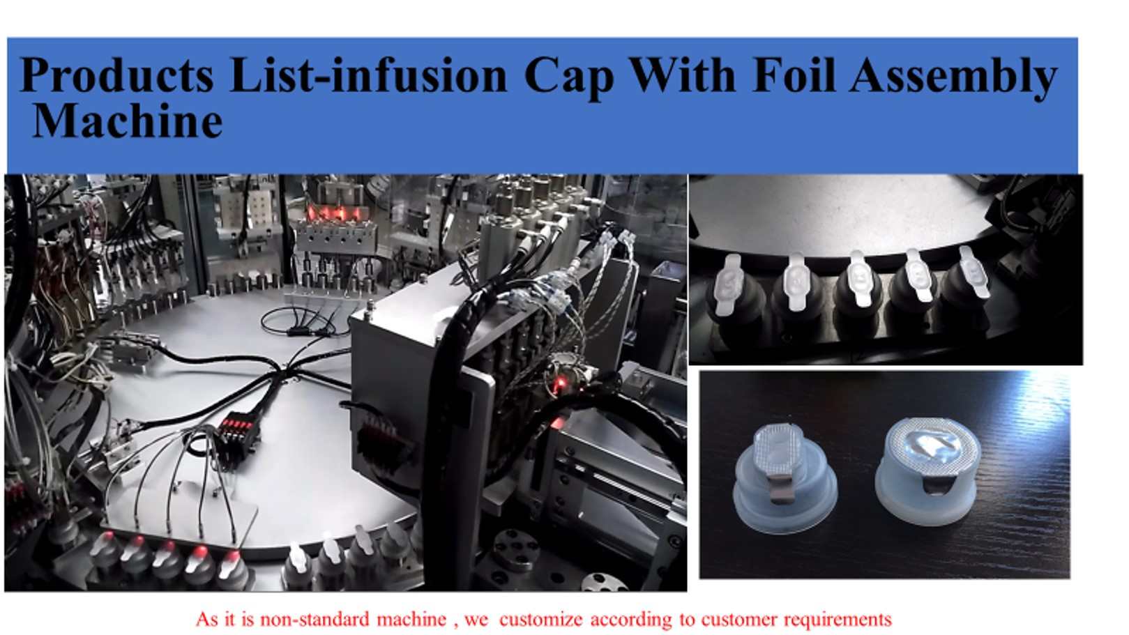 Total tear-off aluminium caps assembly machine for infusion
