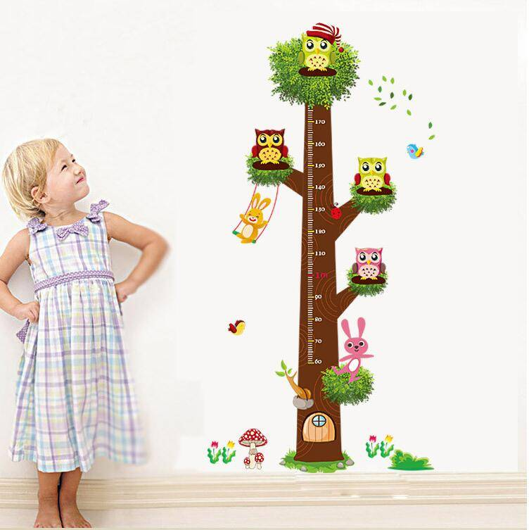 Height Measurement Growth Chart Tree Owls Wall Stickers Kids for Nursery Playroom Kids Bedroom Decor