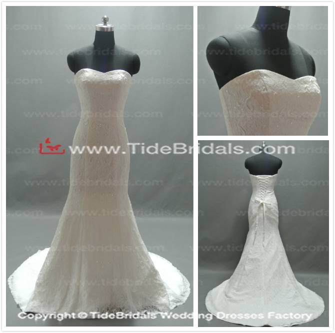 Mermaid sweetheart Lace bridal gown wedding dress (SZRR001)