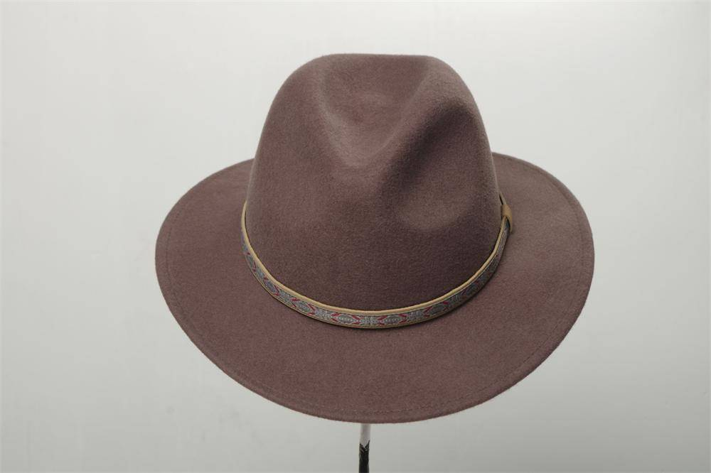 Man Wide Brim Fedora Wool Felt Hat (FM019060)