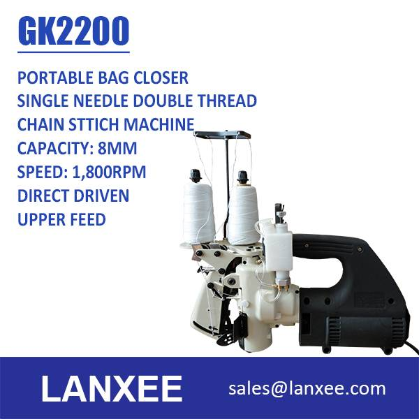Lanxee GK2200 High Speed Single Needle Double Thread Portable Bag Closer