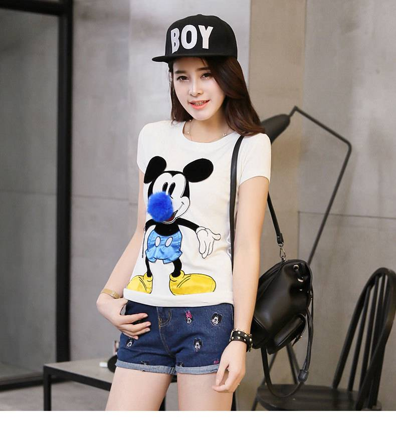 Mushroom Street blouses short sleeve t-shirt 2015 new wave of female cotton short-sleeve T-shirt car