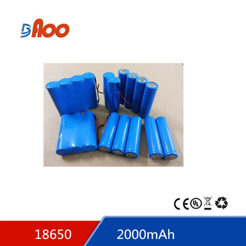 lithium ion battery 18650-2000 3.7v 2000mAH 18650 battery
