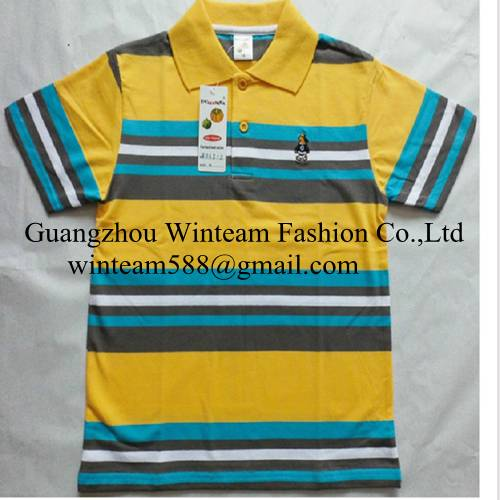 2014 kids clothing wholesale stripe kid's polo shirt with short sleeve on sale