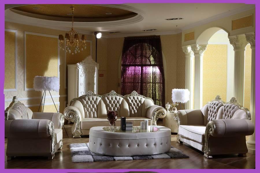 European Style Neo Clical Living Room Furniture Genuine Leather Sofa Luxury Set