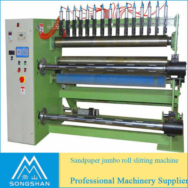 Abrasive cloth roll cutting machine jumbo roll slitter