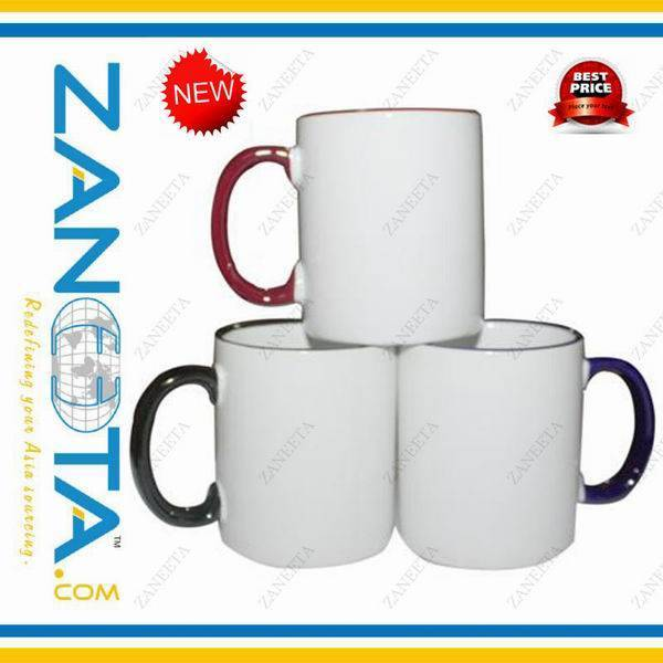 sublimation mug with color rim and handle
