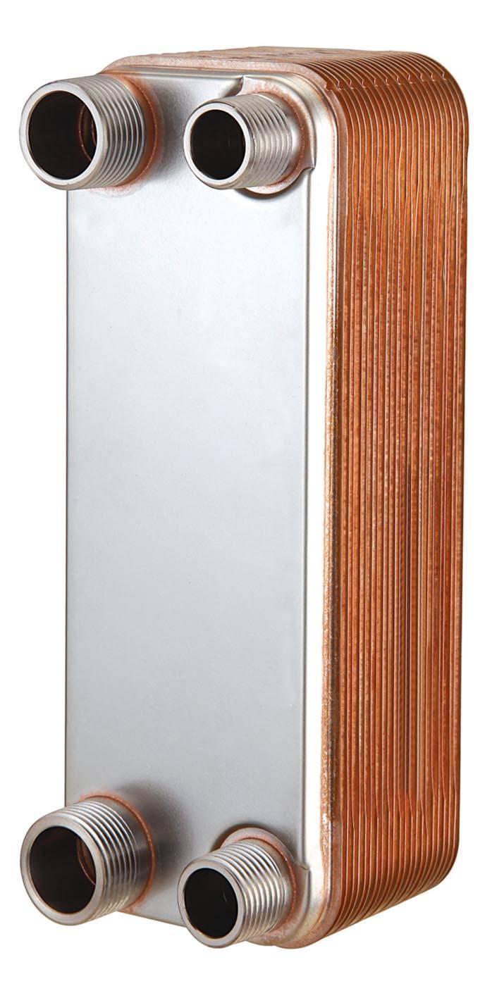 Copper brazed plate heat exchanger for heat pump