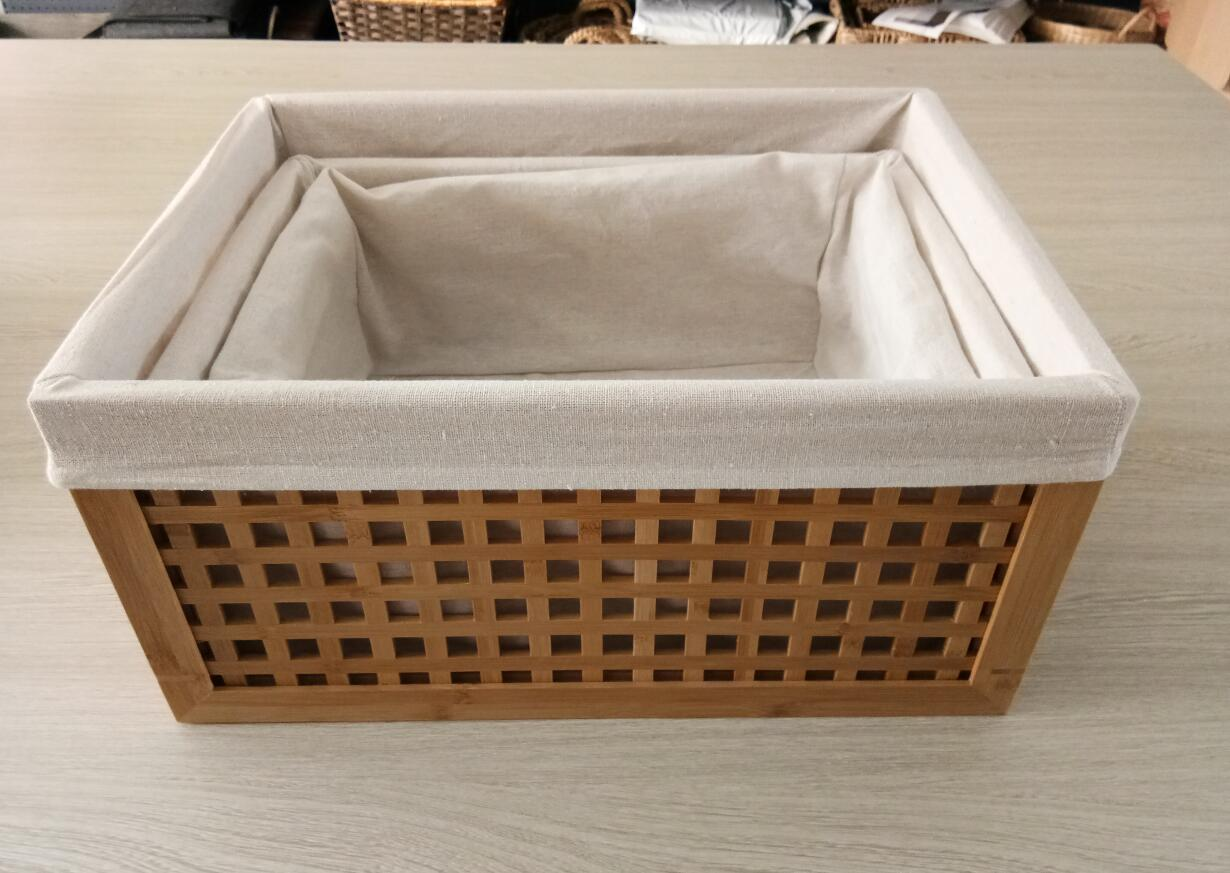 Bamboo storage box with fabric lining 3set, bamboo storage basket, home organizer