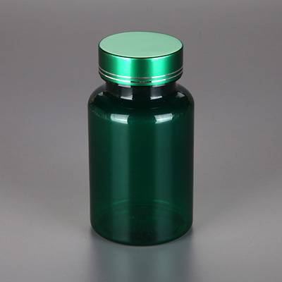 good quality 150ml pet plastic transparent green bottle with silive metal lid