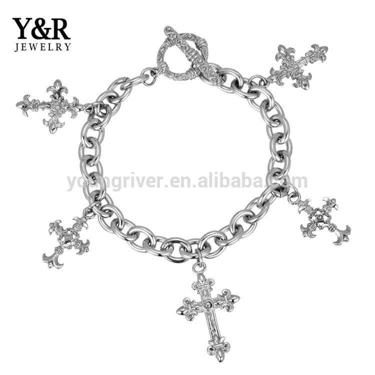 Women Stainless Steel Cross Accessory Charm Jewelry Bracelet