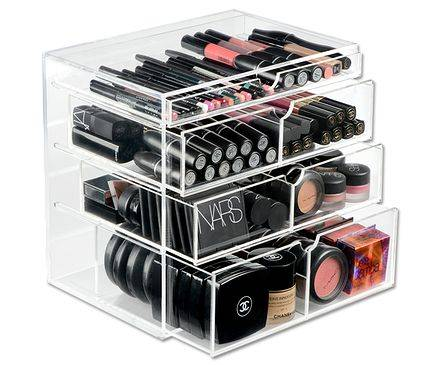 Clear acrylic makeup organizer 5 drawer with custom logo
