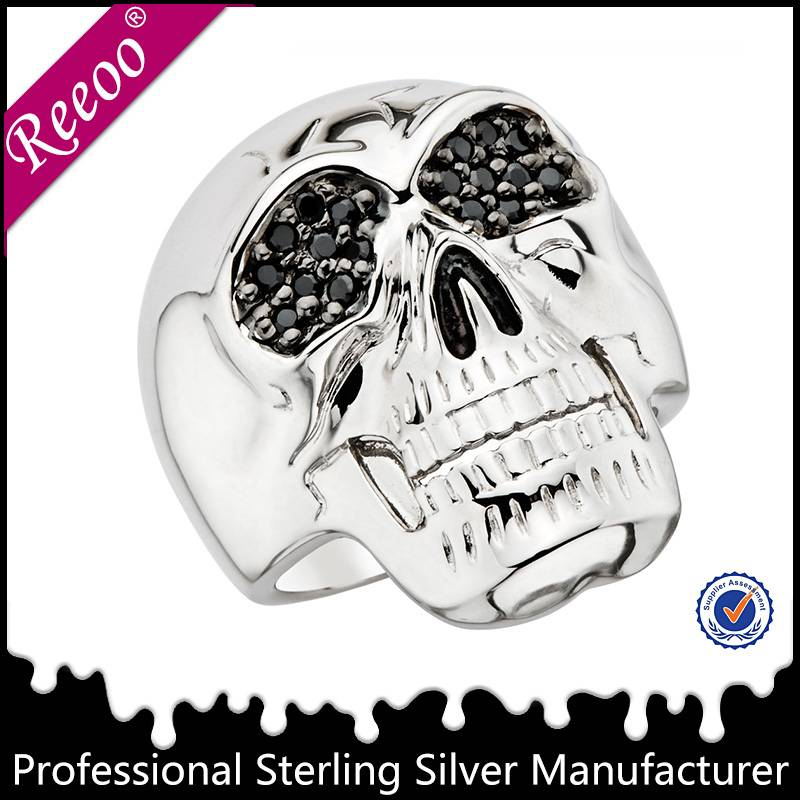 Gothic silver skull rings