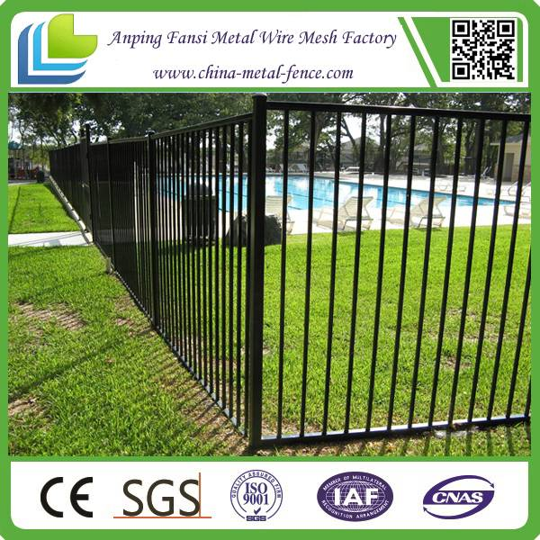 3 Rails 5ft High Black Powder Coated Commercial Pool Fence - Anping