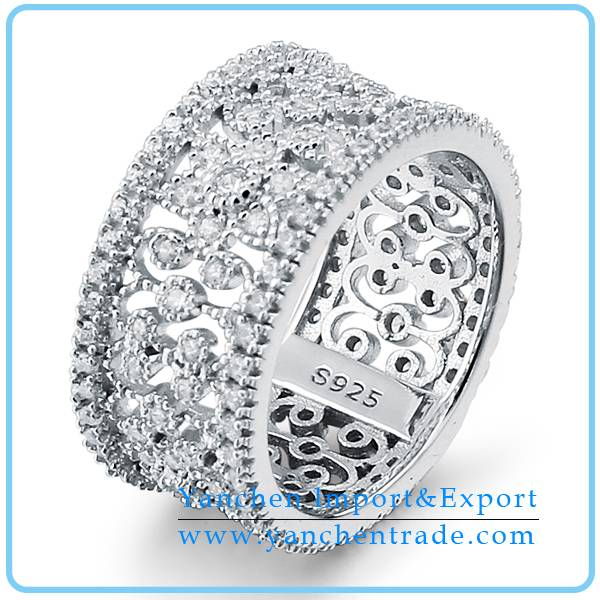 925 Sterling Silver Finger Ring with Rhodium Plated CZ Diamond