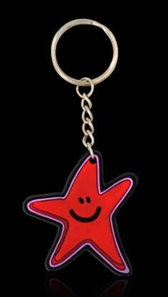 PVC rubber keychain with star shape and novelty design