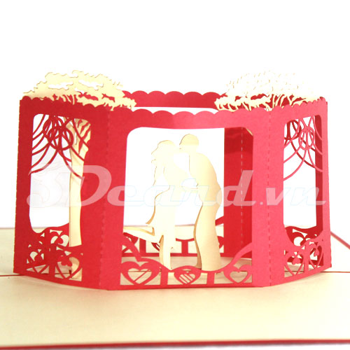 Wedding 2-Kirigami-Origamic-Laser cut-Paper cutting-3D-Pop up-Handmade card-Wedding invitation