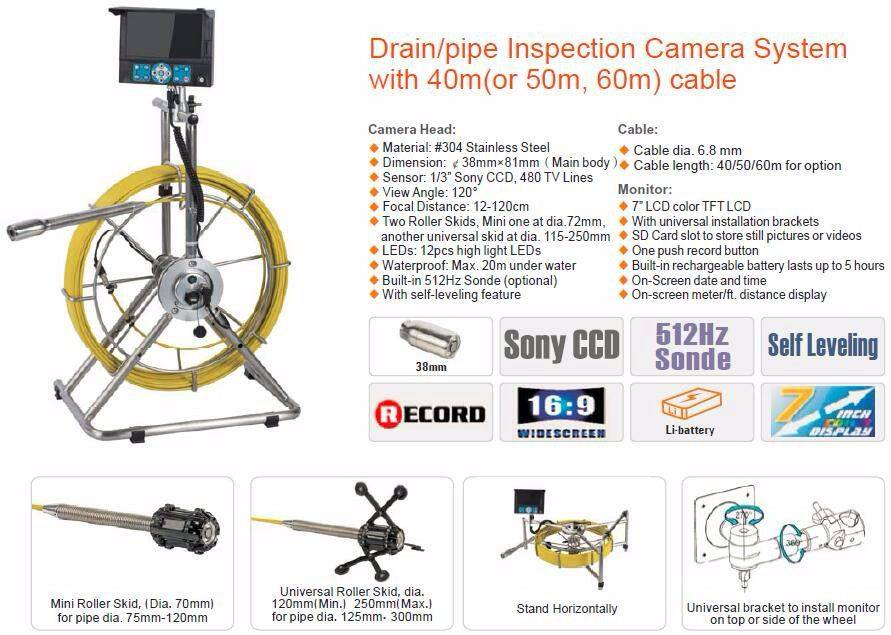 Drain/pipe inspection camera system with 40m/50m/60m cable and keyboard function for video input