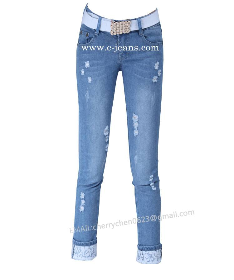 2014 New Style Fashion Women Jeans Distressed Finish Made in China