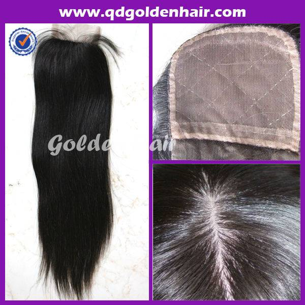 Golden Hair High Quality Virgin Remy Brazilian Human Hair Silk Top Closure