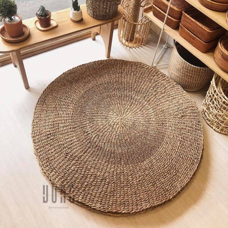 High Quality Round Straw Seagrass Rug in Living room From Vietnam Eco-friendly Natural Fiber Mat