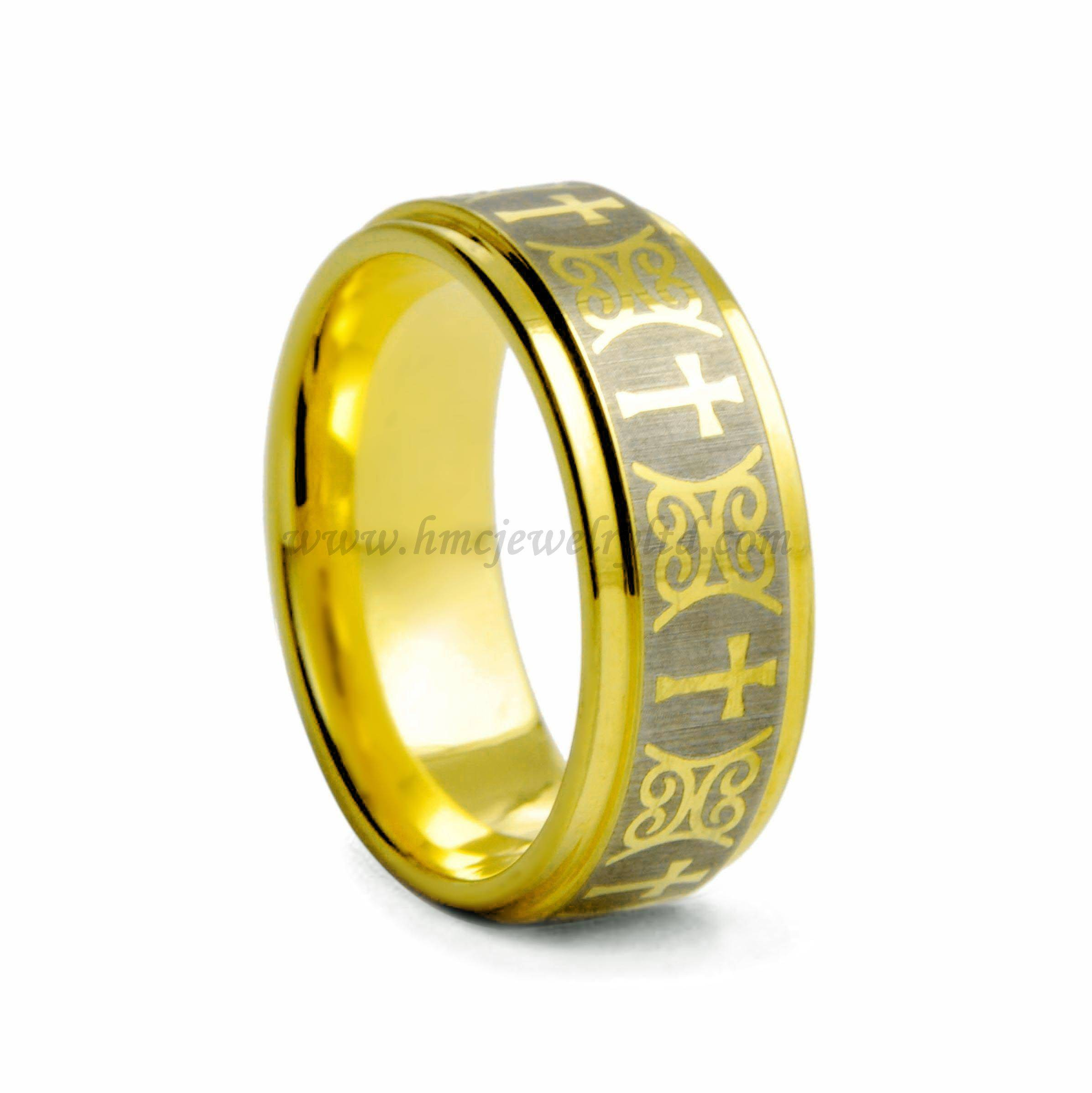Men's Catholic Rings, Gold Plated Religious Tungsten Cross Rings