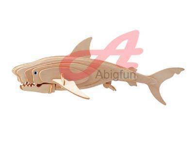 wood puzzle Great White Shark kids diy assembly toy