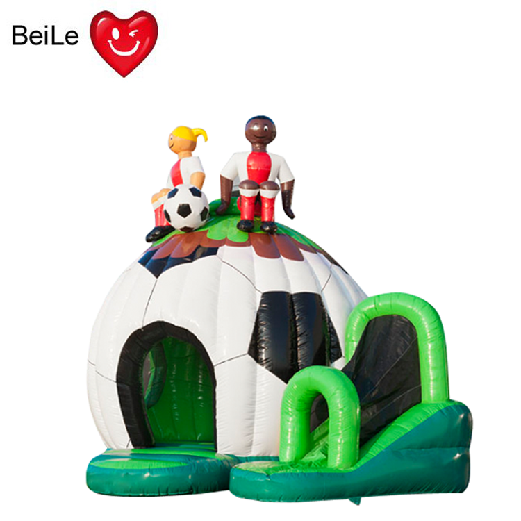 HOT promotion green and white football shaped inflatable baby bouncer