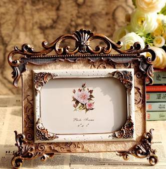 Fashion rustic photo frame fashion desktop swing sets rack vintage wool resin