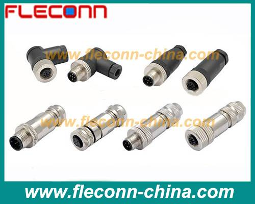 M12 Field Wireable Connector with 3 4 5 8 PIN Screw Terminals