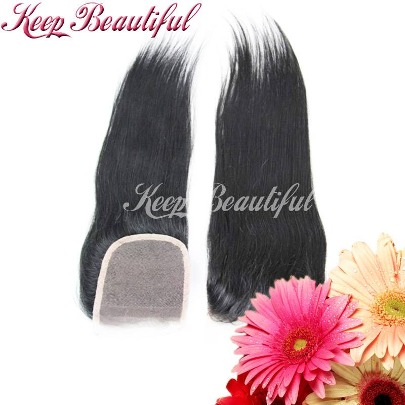 100% Unprocessed Peruvian Human Hair Lace Closure Natural Straight Bleached Nots Free Part