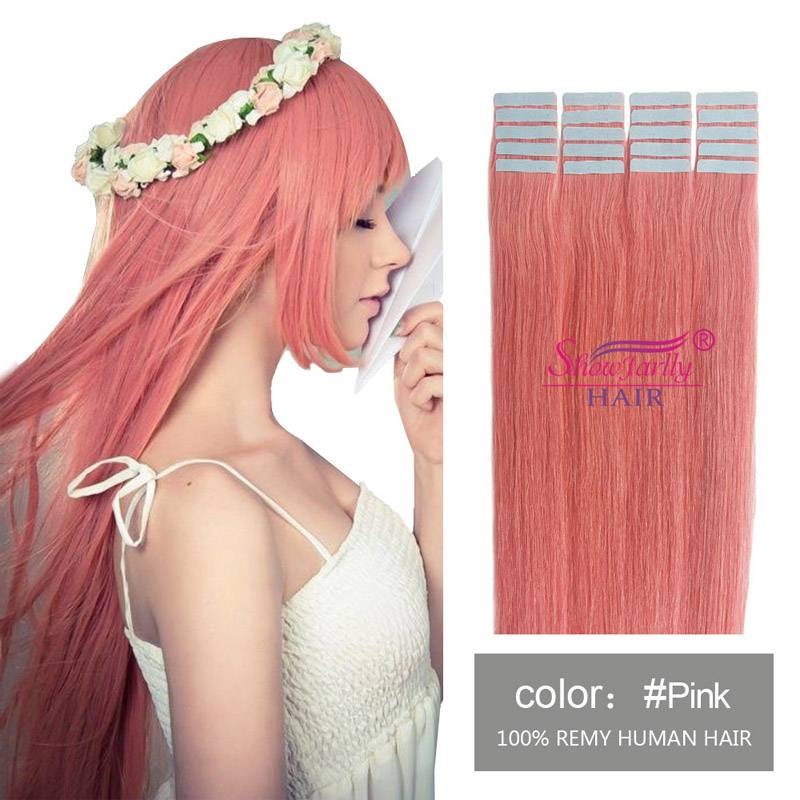 Tape in hair extensions pink