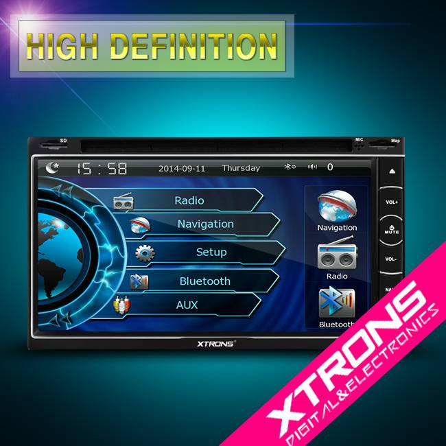 """6.95""""HD Digital Touch Screen Stylish Turntable UI Double Din DVD Player with built in DVB-T"""