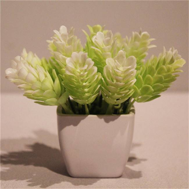 Mini Fake Plastic Potted Artificial Flower Bunch in White for Sale