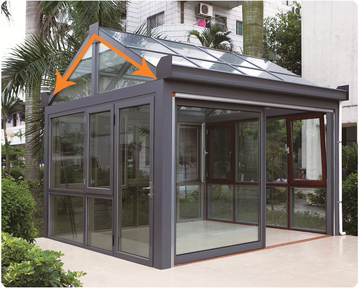 gable roof sunroom with laminated glass
