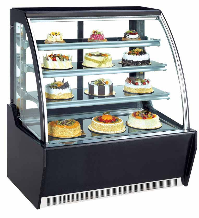 Curved glass cake display refrigerator showcase refrigerator