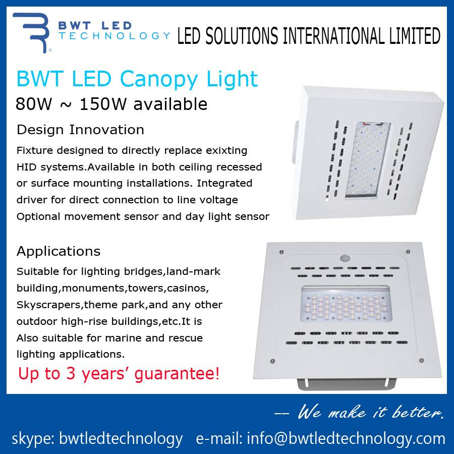 BWT LED Canopy Light 150W 3 Years' Guarantee