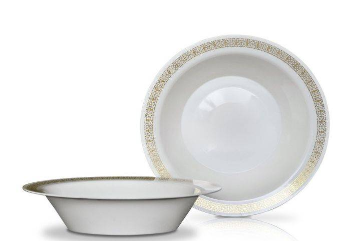 Disposable Round Plastic Bowl With Gold Rim