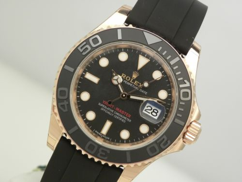 New Rolex YACHTMASTER Everose Gold 116655 Rubber Oysterflex Bracelet Black Dial 40MM