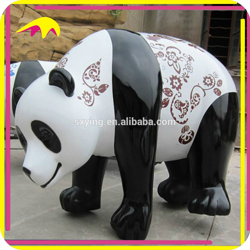 KANO6193 Handmade 1:1 Scale Fiberglass Panda Cartoon Statue
