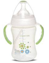 280ml Wide-neck dual color round shape feeding bottle