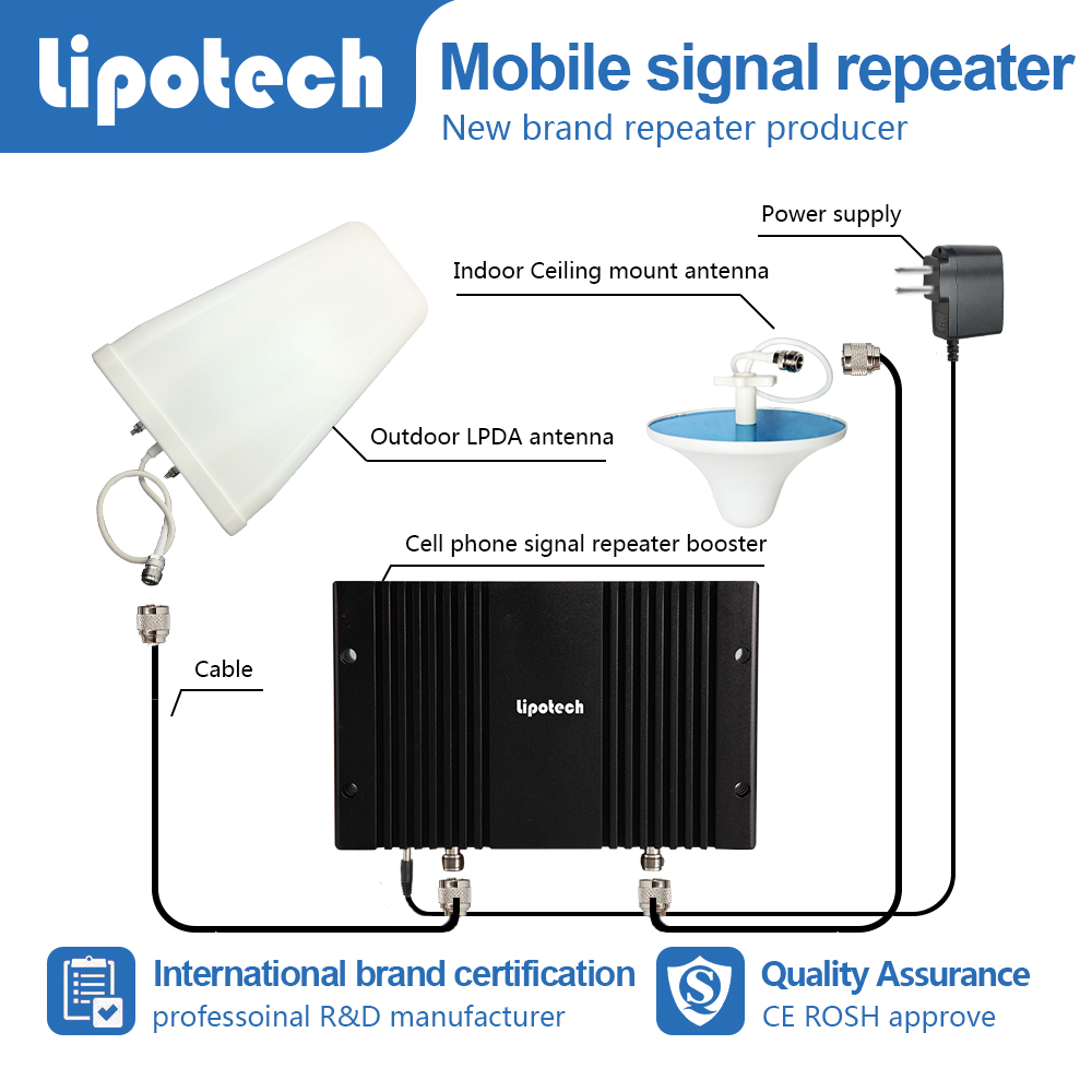 Long distance tri band mobile signal repeater GSM DCS WCDMA data extender