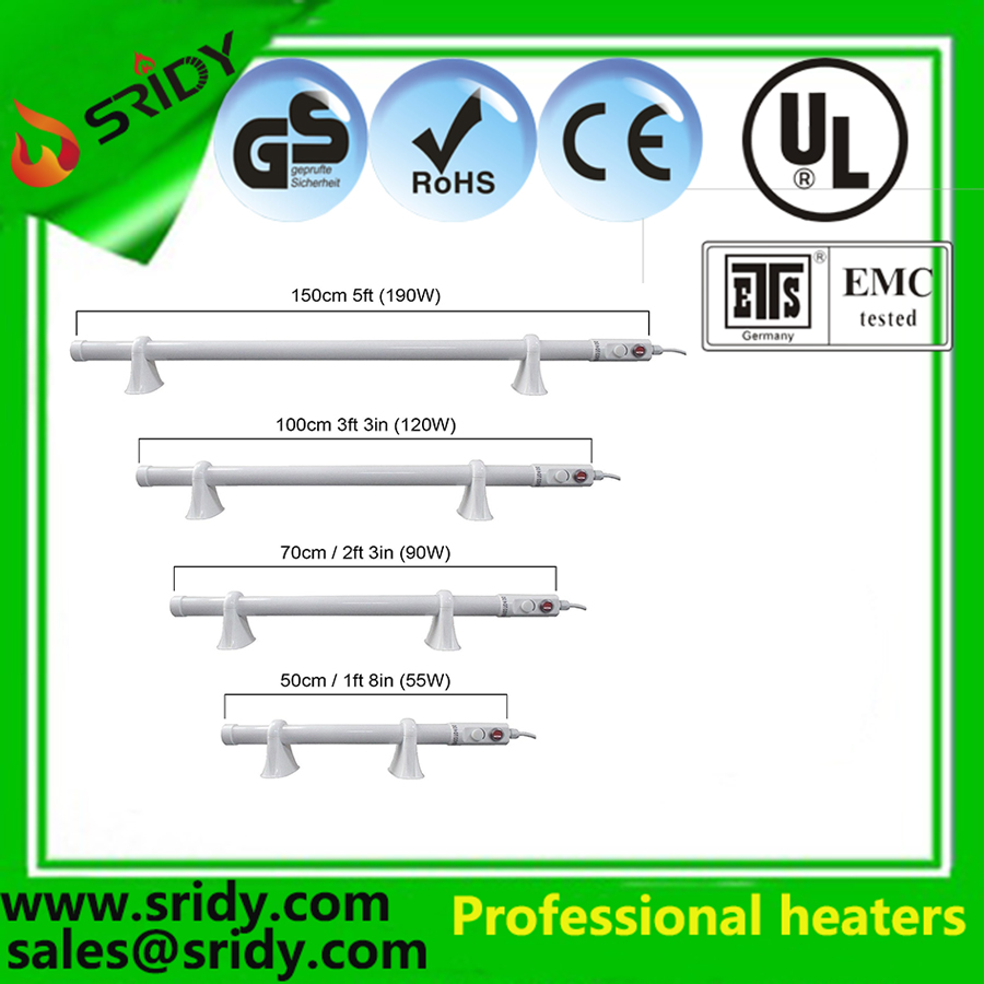 Electric Tube Heater 1ft, 2ft, 3ft, 4ft For Greenhouse heating parts with Mounting Brackets IP44