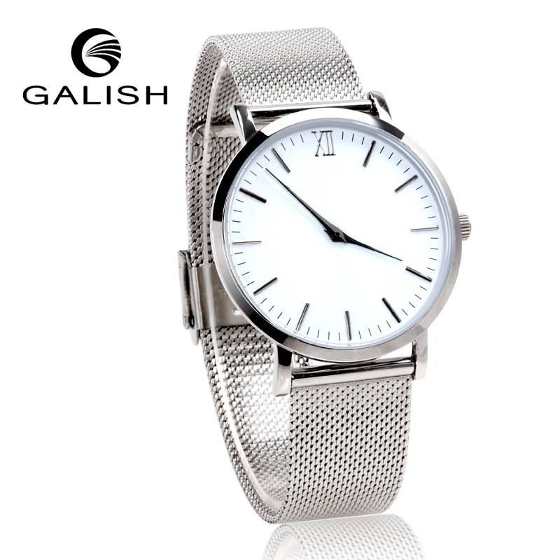 slim watch with metal band