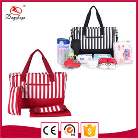 Alibaba express stripe nylon diaper bags mummy baby bag