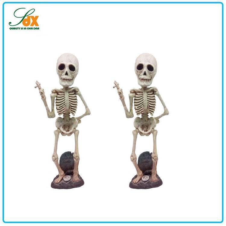 2015 New Product Resin Halloween Skull Bobble Head