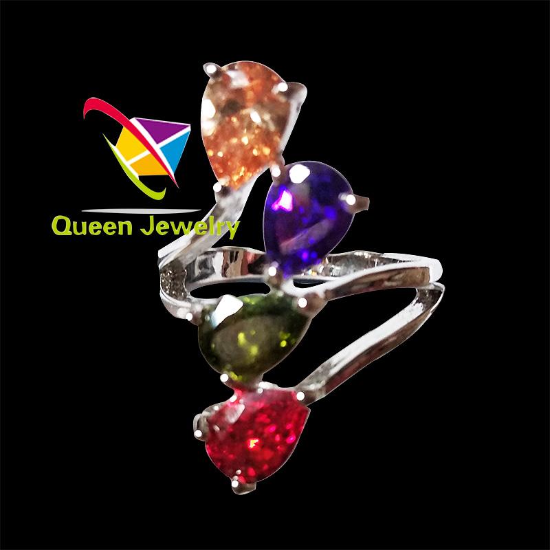 Women Zircon colorful Wedding Rings Female gemstone birthday gift rings fashion jewelry