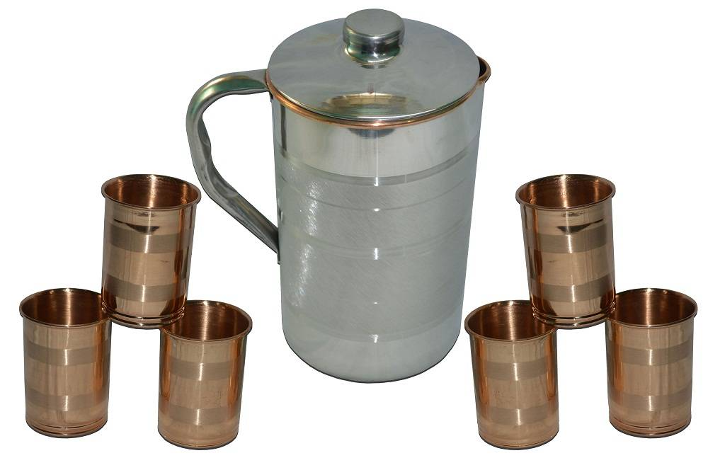 Raghav India 100% Genuine Saga Pure Copper with Stainless Steel Finish Outside Jug 1.6 Litre Capacit